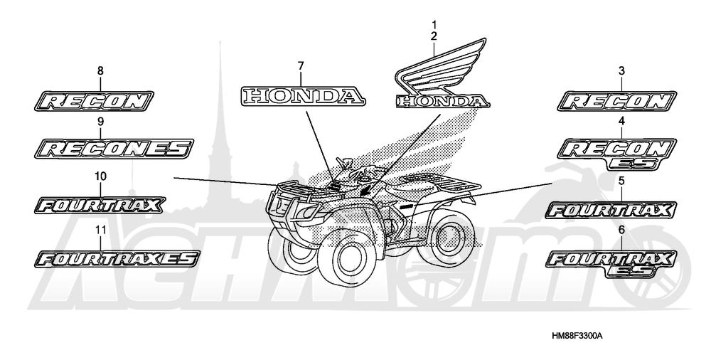 Запчасти для Квадроцикла Honda 2007 TRX250TE Раздел: MARKS   MARKS
