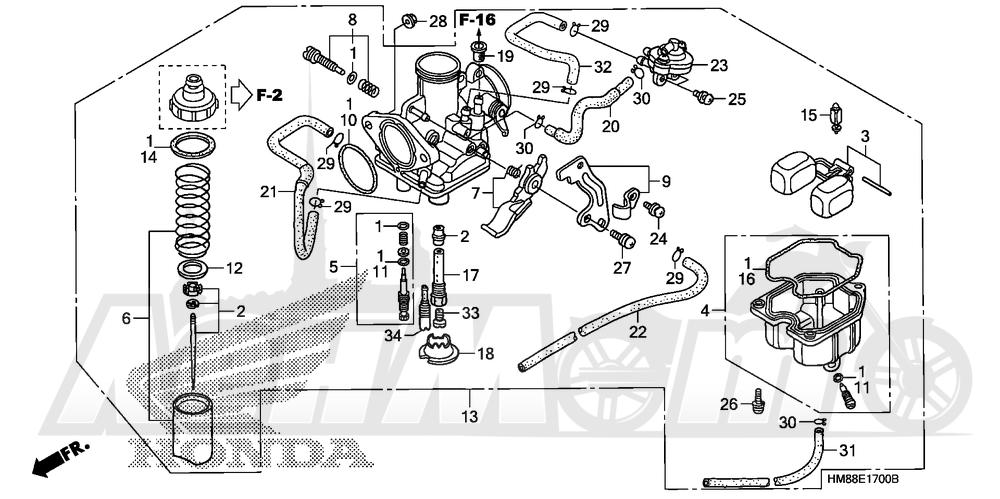 Запчасти для Квадроцикла Honda 2007 TRX250TE Раздел: CARBURETOR   карбюратор