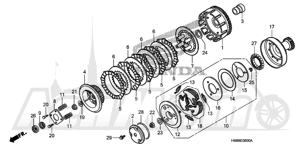 Запчасти для Квадроцикла Honda 2007 TRX250TE Раздел: CLUTCH | сцепление