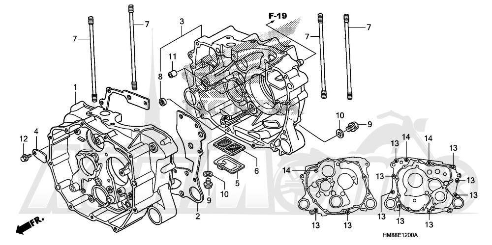 Запчасти для Квадроцикла Honda 2007 TRX250TE Раздел: CRANKCASE | картер