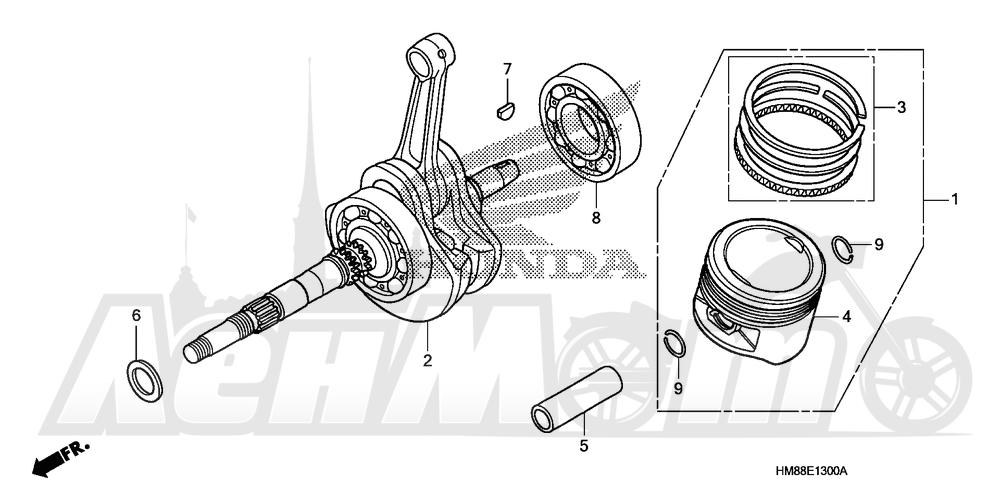Запчасти для Квадроцикла Honda 2007 TRX250TE Раздел: CRANKSHAFT AND PISTON | коленвал и поршень