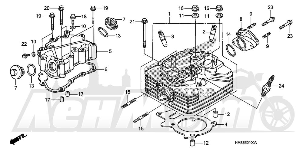Запчасти для Квадроцикла Honda 2007 TRX250TE Раздел: CYLINDER HEAD | головка цилиндра