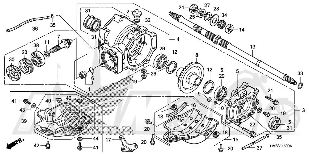 Запчасти для Квадроцикла Honda 2007 TRX250TE Раздел: REAR FINAL GEAR | зад FINAL шестерня