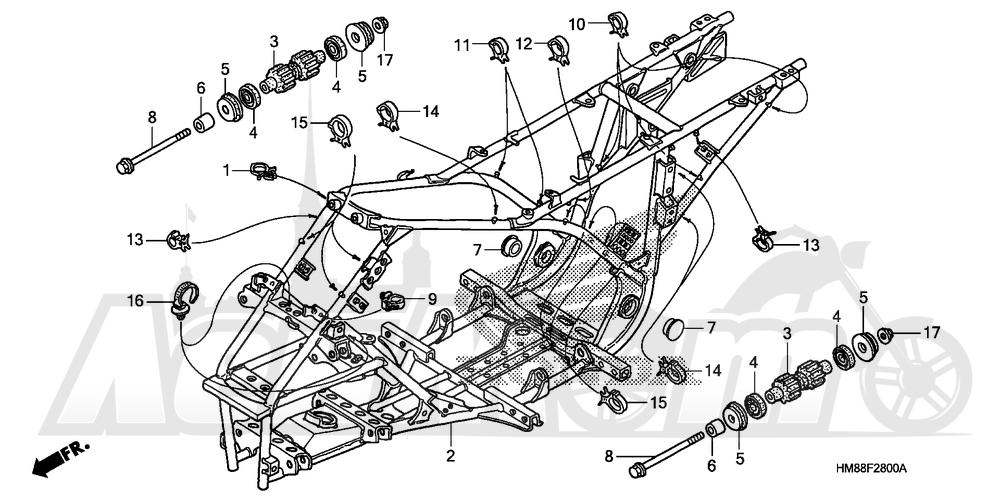 Запчасти для Квадроцикла Honda 2007 TRX250TE Раздел: FRAME | рама