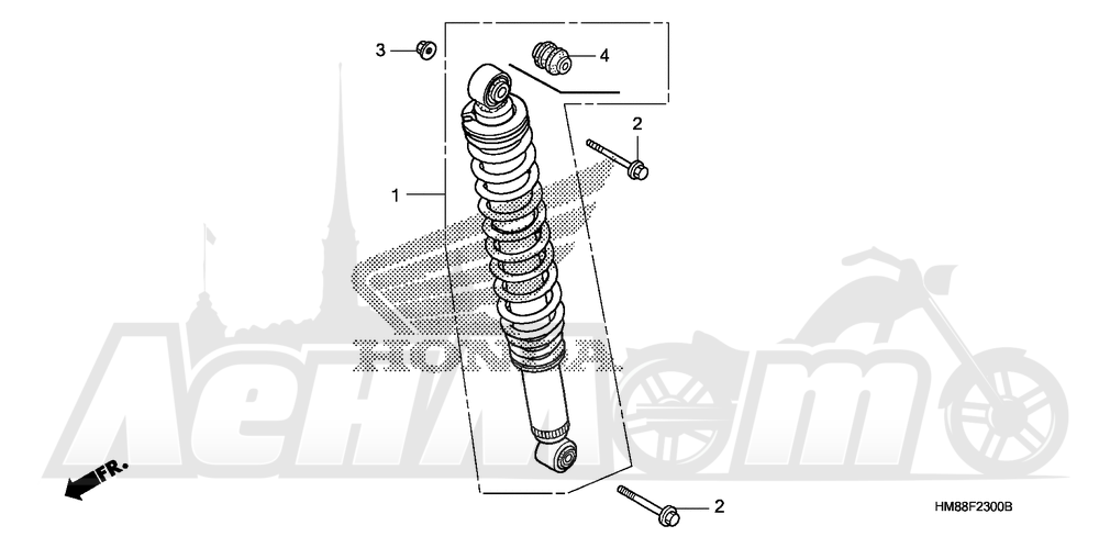 Запчасти для Квадроцикла Honda 2007 TRX250TE Раздел: REAR SHOCK ABSORBER | зад амортизатор