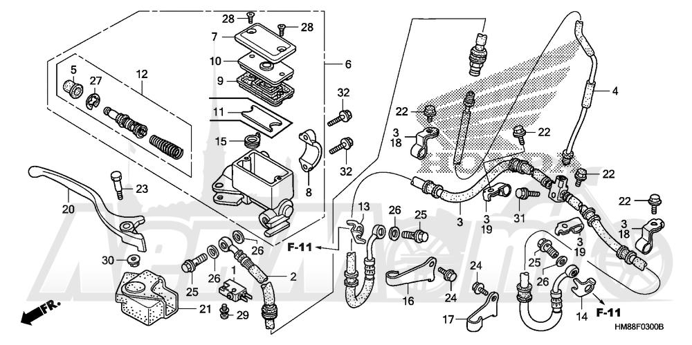 Запчасти для Квадроцикла Honda 2007 TRX250TE Раздел: FRONT BRAKE MASTER CYLINDER   передний тормоз главный цилиндр