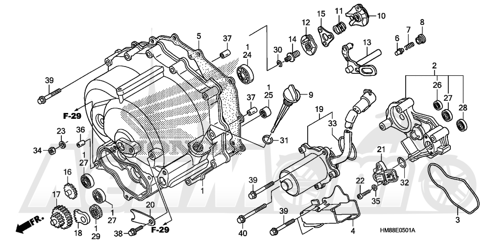 Запчасти для Квадроцикла Honda 2007 TRX250TE Раздел: FRONT CRANKCASE COVER (TRX250TE)   перед крышка картера (TRX250TE)