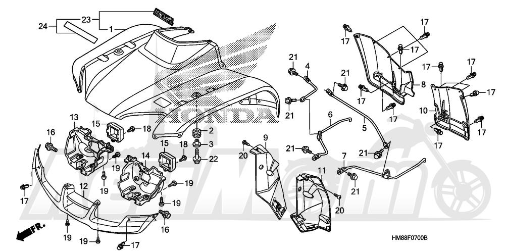 Запчасти для Квадроцикла Honda 2007 TRX250TE Раздел: FRONT FENDER | переднее крыло