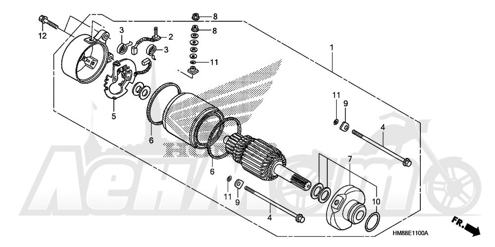 Запчасти для Квадроцикла Honda 2007 TRX250TE Раздел: STARTING MOTOR (