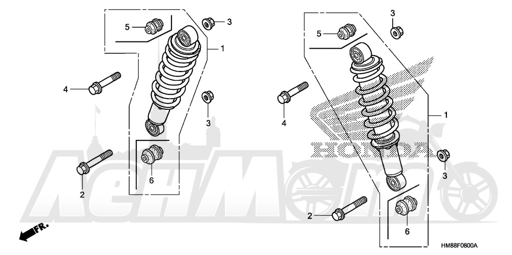 Запчасти для Квадроцикла Honda 2007 TRX250TE Раздел: FRONT SHOCK ABSORBER | перед амортизатор
