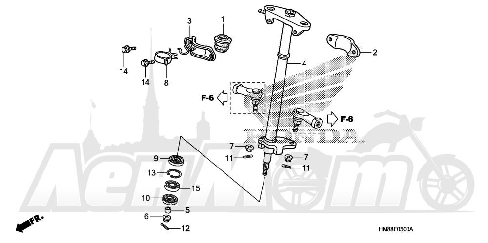 Запчасти для Квадроцикла Honda 2007 TRX250TE Раздел: STEERING SHAFT   рулевой вал