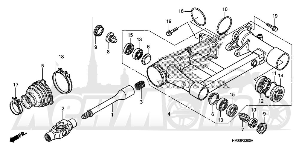 Запчасти для Квадроцикла Honda 2007 TRX250TE Раздел: SWINGARM | маятник