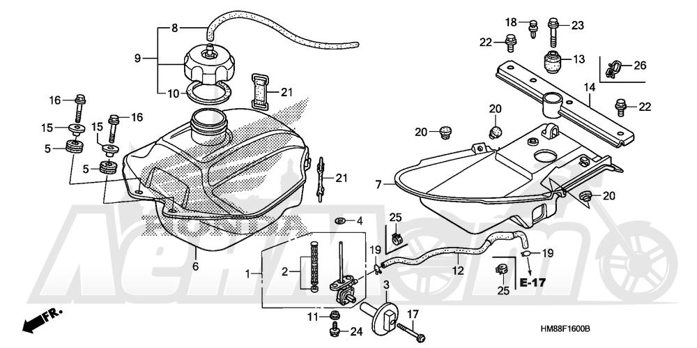 Запчасти для Квадроцикла Honda 2007 TRX250TE Раздел: FUEL TANK | топливный бак