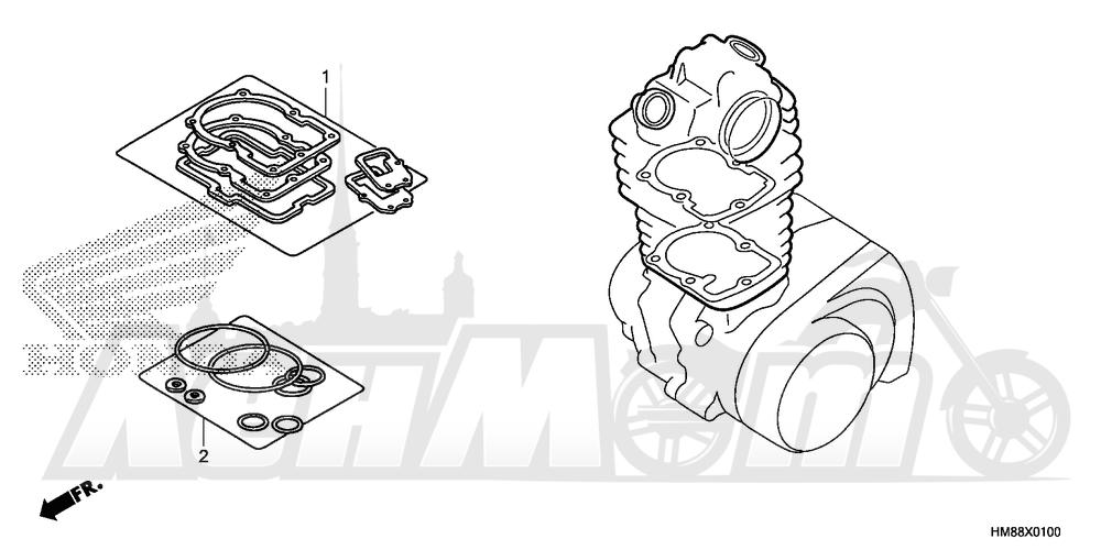 Запчасти для Квадроцикла Honda 2007 TRX250TE Раздел: GASKET KIT A | комплект прокладок A