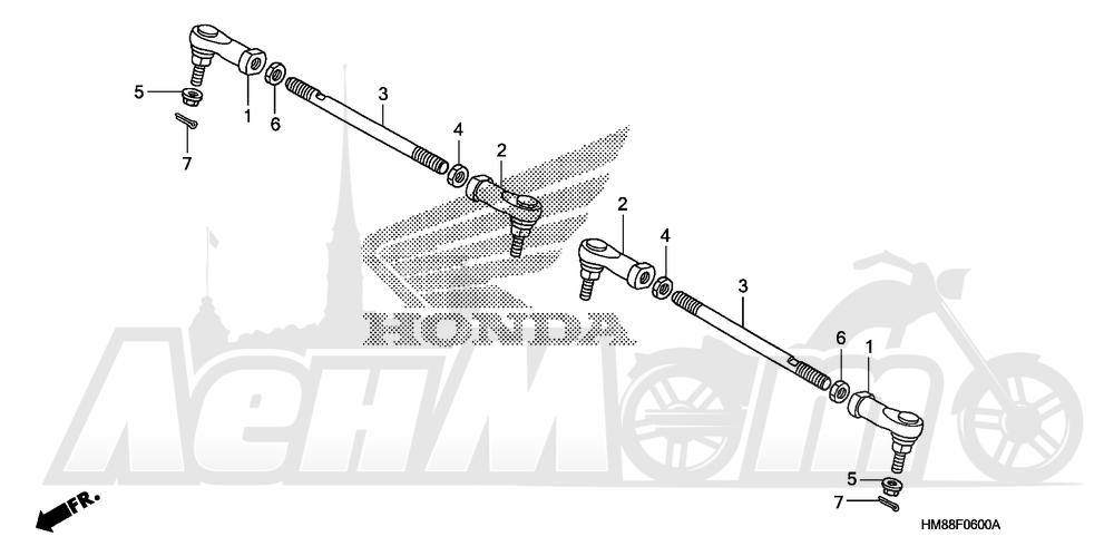 Запчасти для Квадроцикла Honda 2007 TRX250TE Раздел: TIE ROD | рулевая тяга