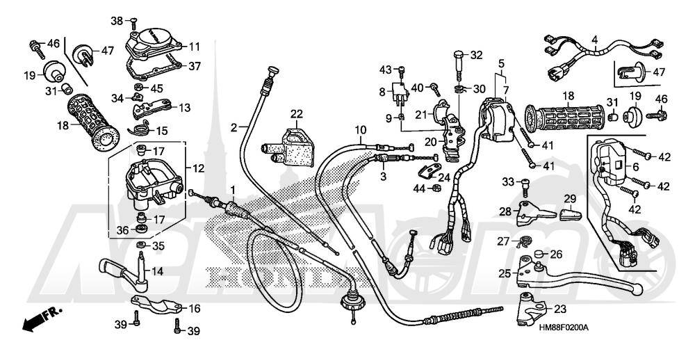 Запчасти для Квадроцикла Honda 2007 TRX250TE Раздел: HANDLE LEVERS AND SWITCHES AND CABLES | ручка LEVERS и выключатели, переключатели и тросики, кабели