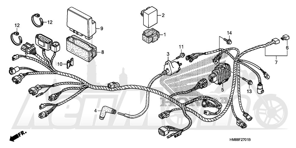 Запчасти для Квадроцикла Honda 2007 TRX250TE Раздел: WIRE HARNESS (TRX250TE) | жгут проводов (TRX250TE)