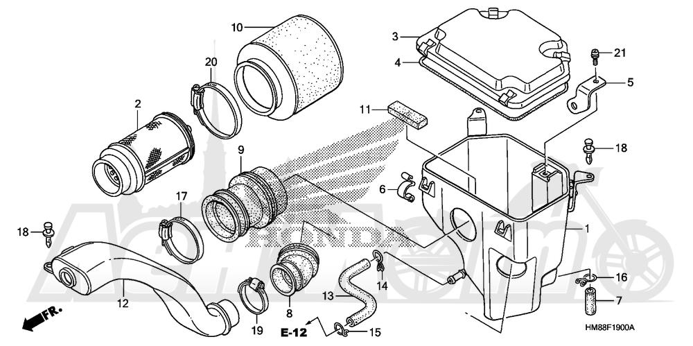 Запчасти для Квадроцикла Honda 2007 TRX250TM Раздел: AIR CLEANER | очиститель воздуха