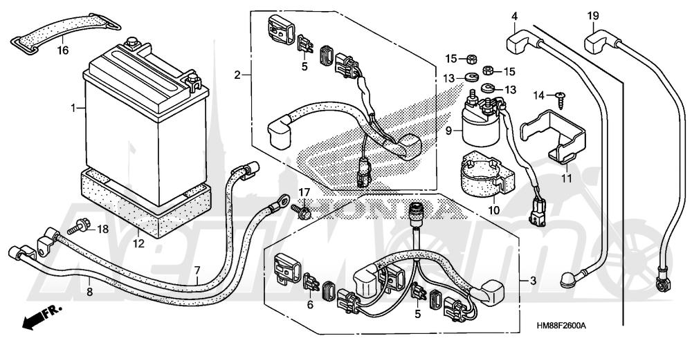 Запчасти для Квадроцикла Honda 2007 TRX250TM Раздел: BATTERY | аккумулятор