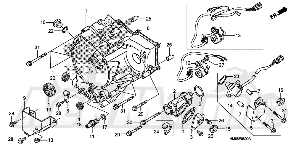 Запчасти для Квадроцикла Honda 2007 TRX250TM Раздел: REAR CRANKCASE COVER | зад крышка картера