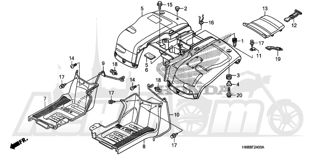 Запчасти для Квадроцикла Honda 2007 TRX250TM Раздел: REAR FENDER | заднее крыло