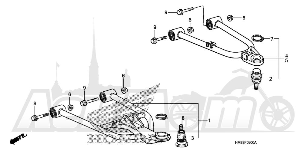 Запчасти для Квадроцикла Honda 2007 TRX250TM Раздел: FRONT ARM | передний рычаг