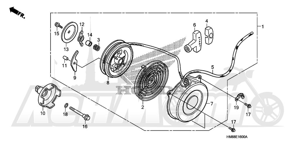 Запчасти для Квадроцикла Honda 2007 TRX250TM Раздел: RECOIL STARTER | ручной стартер