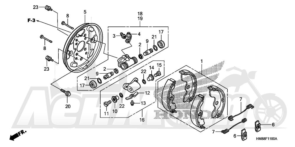 Запчасти для Квадроцикла Honda 2007 TRX250TM Раздел: FRONT BRAKE PANEL | передний тормоз панель