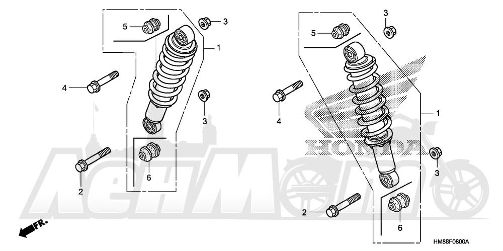 Запчасти для Квадроцикла Honda 2007 TRX250TM Раздел: FRONT SHOCK ABSORBER   перед амортизатор
