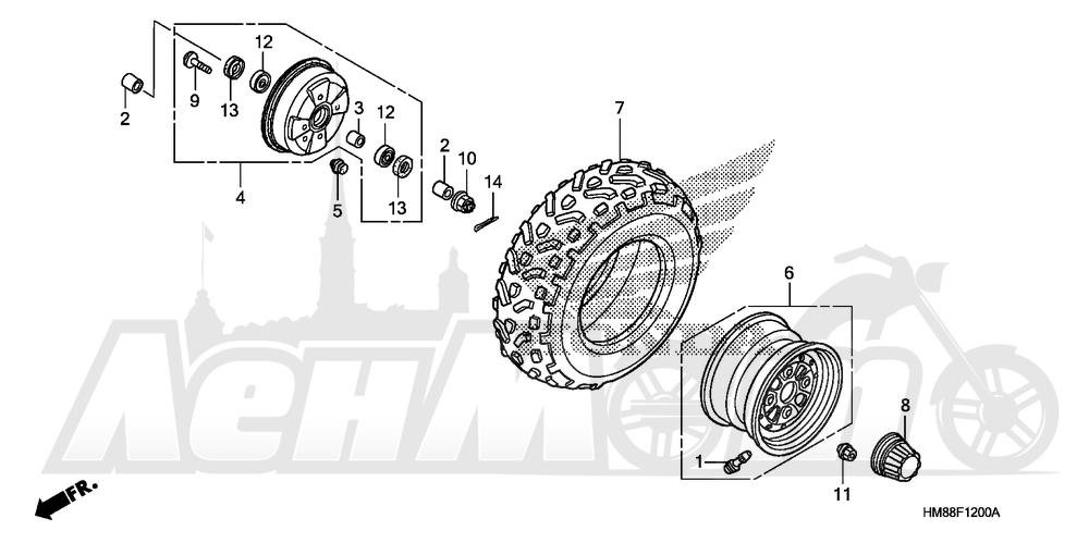 Запчасти для Квадроцикла Honda 2007 TRX250TM Раздел: FRONT WHEEL   переднее колесо