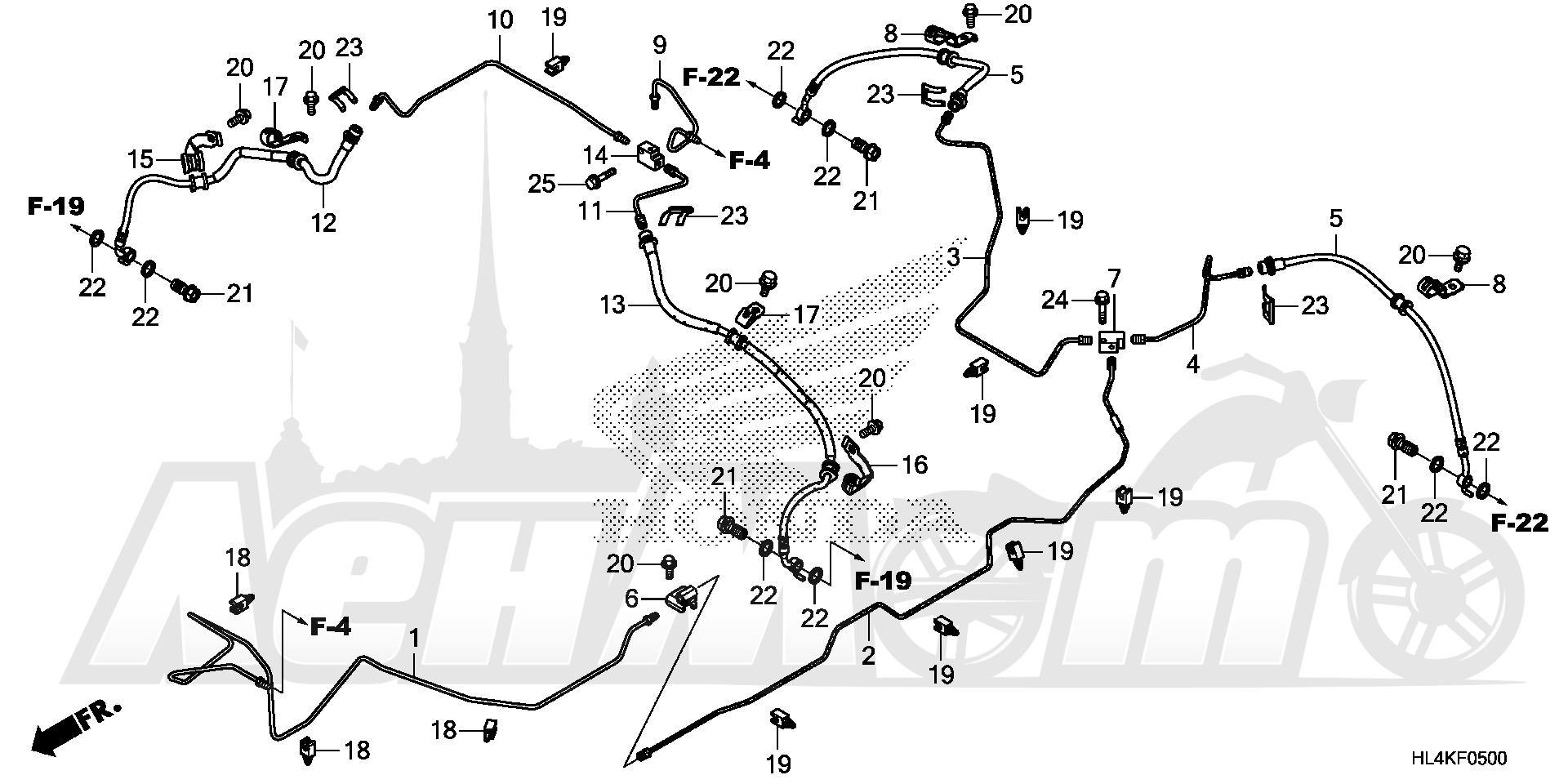 Запчасти для Квадроцикла Honda 2019 SXS1000M3L Раздел: BRAKE PIPE (1) | тормоза труба (1)