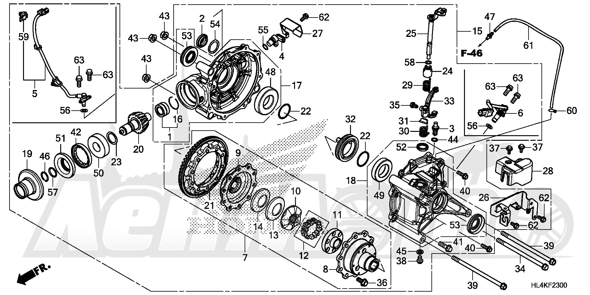 Запчасти для Квадроцикла Honda 2019 SXS1000M3L Раздел: FINAL DRIVEN GEAR   FINAL ведомый шестерня