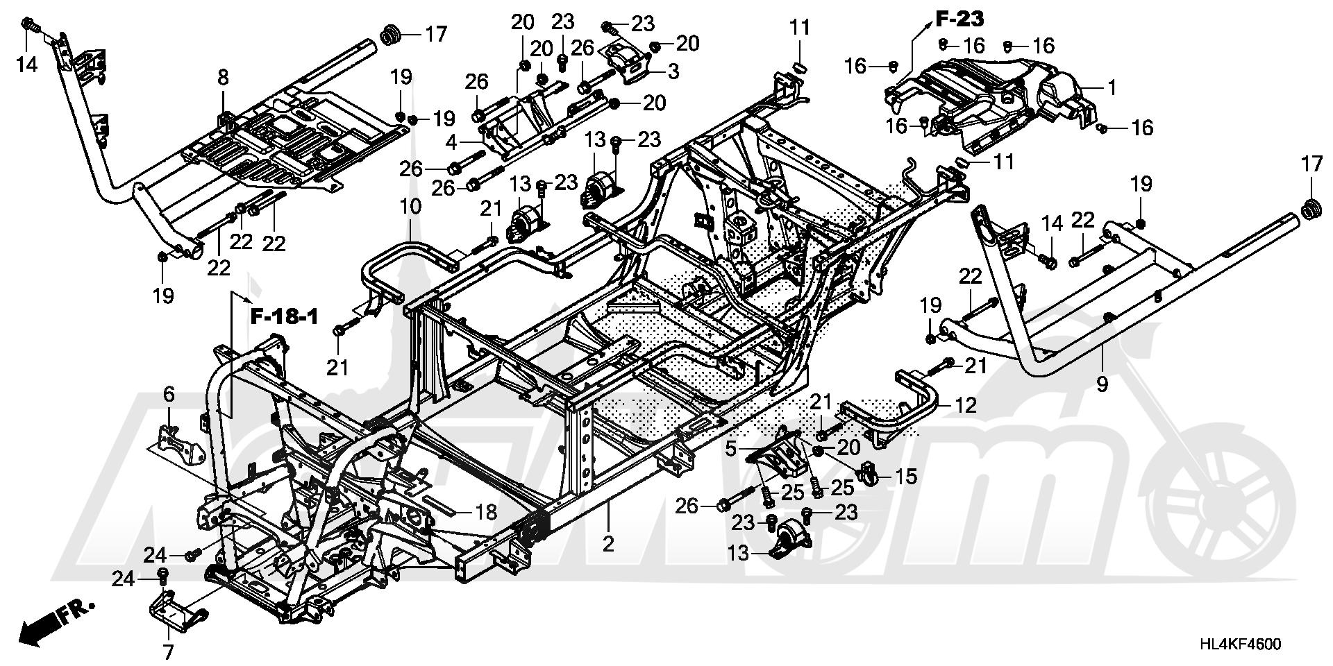 Запчасти для Квадроцикла Honda 2019 SXS1000M3L Раздел: FRAME | рама