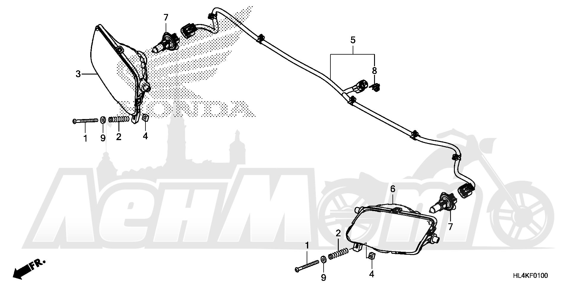 Запчасти для Квадроцикла Honda 2019 SXS1000M3L Раздел: HEADLIGHT (1)   передняя фара (1)