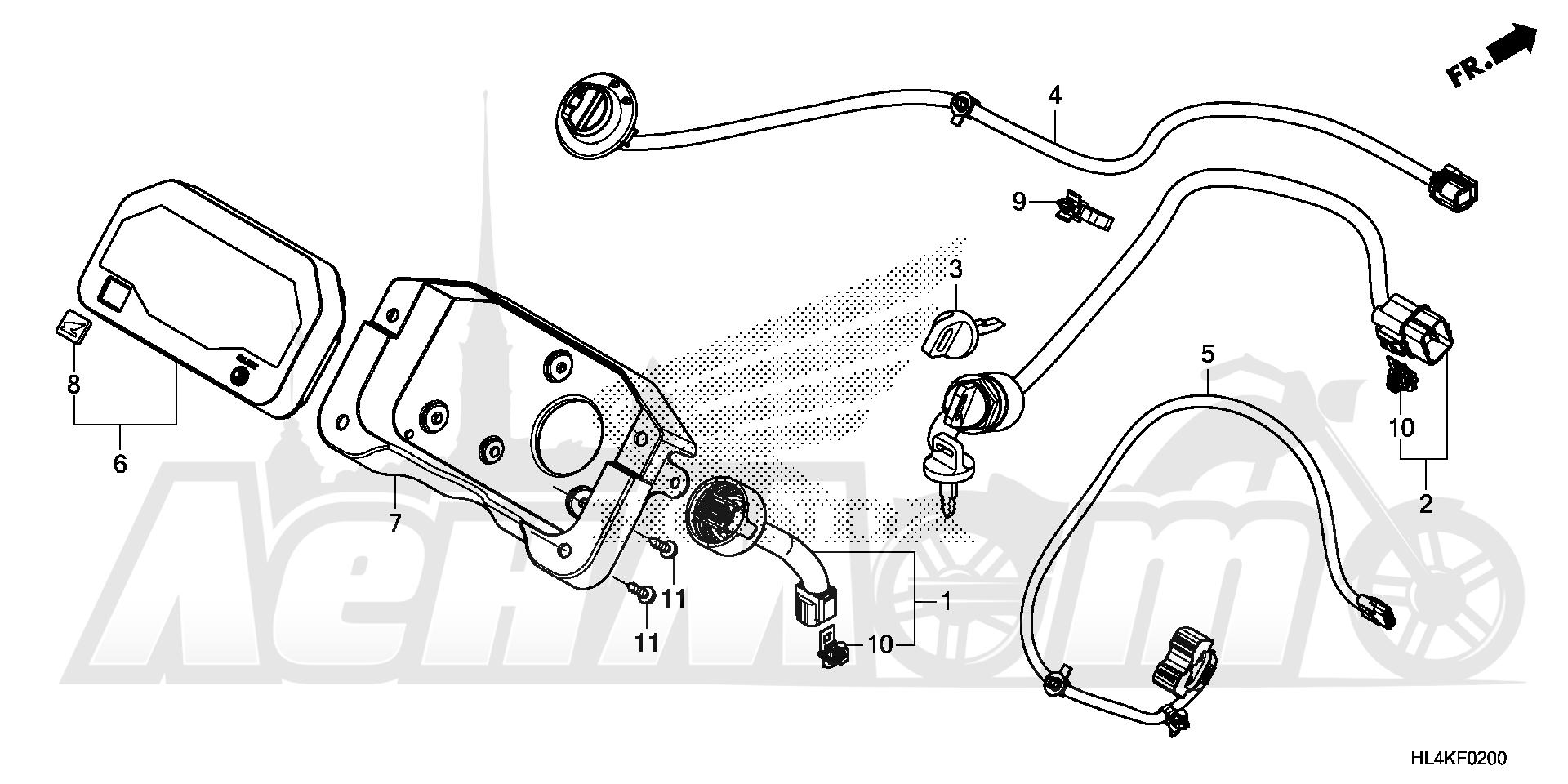 Запчасти для Квадроцикла Honda 2019 SXS1000M3L Раздел: METER AND SWITCH (1) | счетчик и переключатель (1)