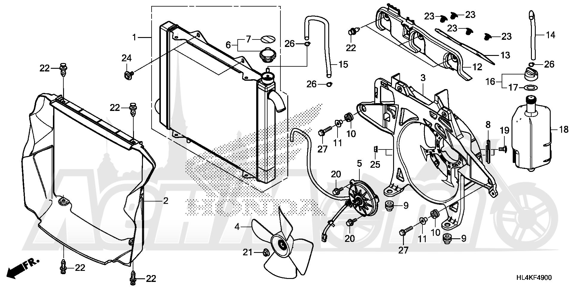 Запчасти для Квадроцикла Honda 2019 SXS1000M3L Раздел: RADIATOR | радиатор