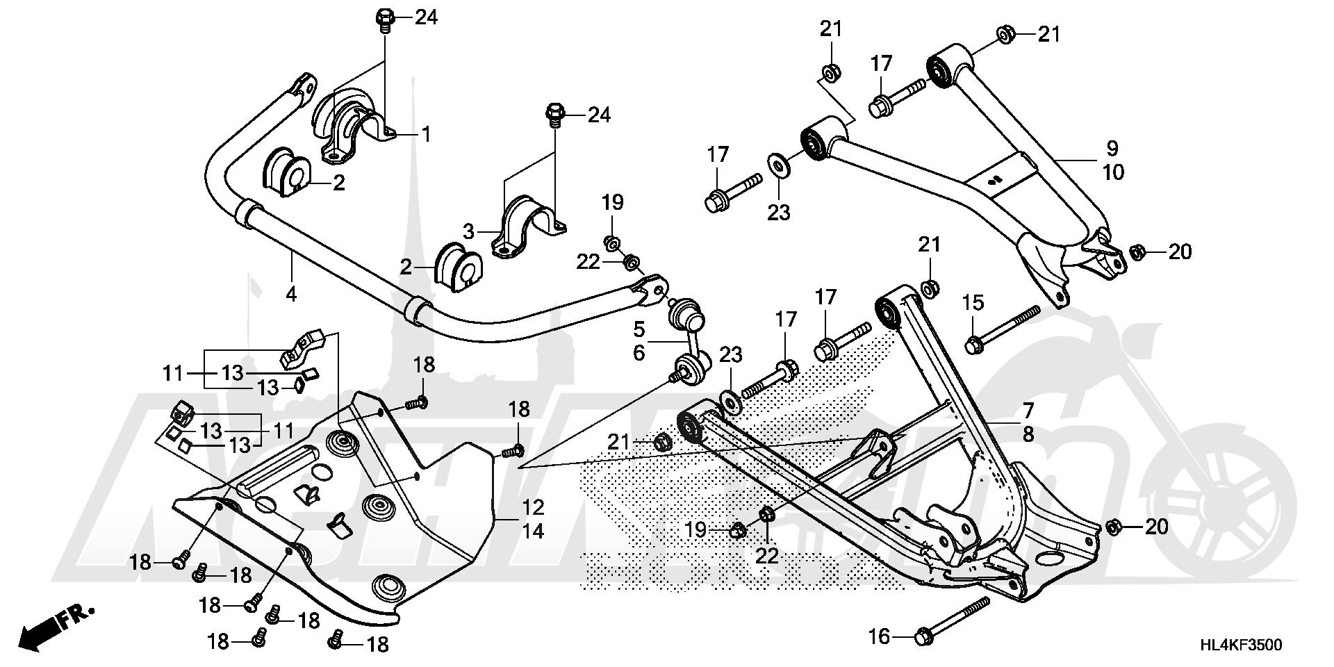 Запчасти для Квадроцикла Honda 2019 SXS1000M3L Раздел: REAR ARM AND REAR STABILIZER | задний рычаг и зад стабилизатор