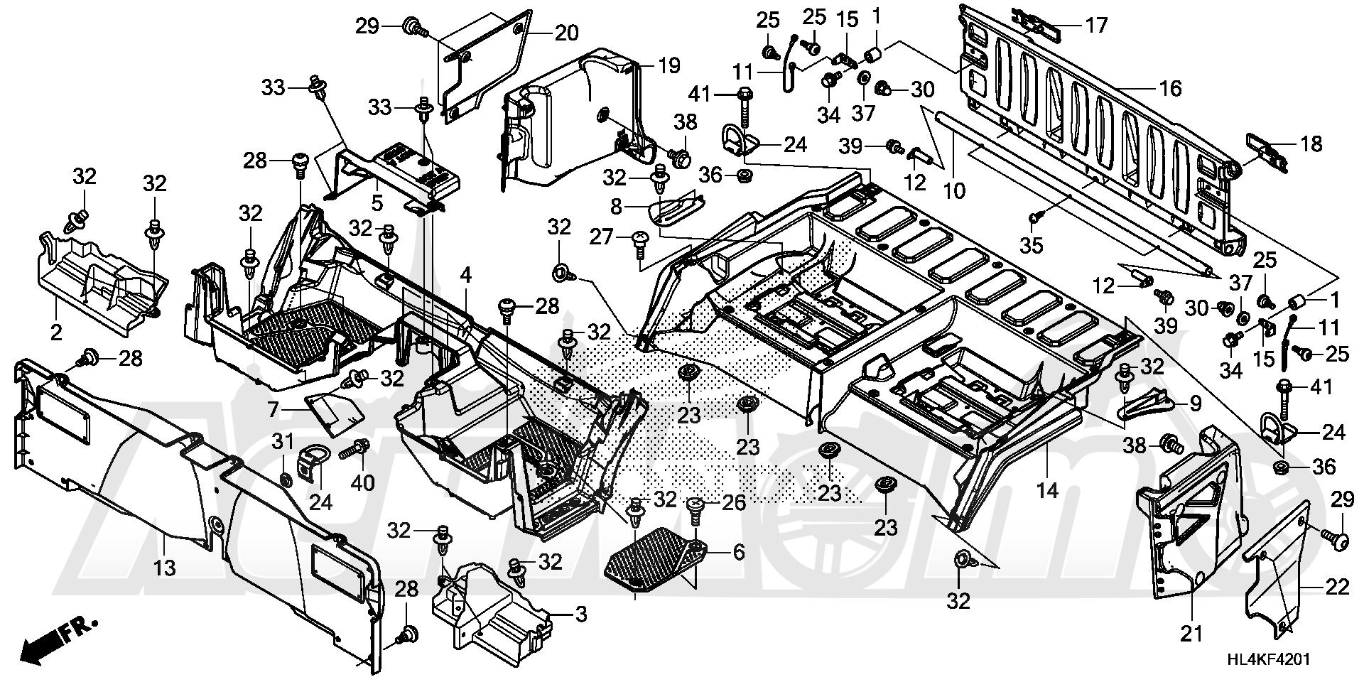 Запчасти для Квадроцикла Honda 2019 SXS1000M3P Раздел: BED PLATE AND REAR GATE (2) | BED пластина и зад GATE (2)