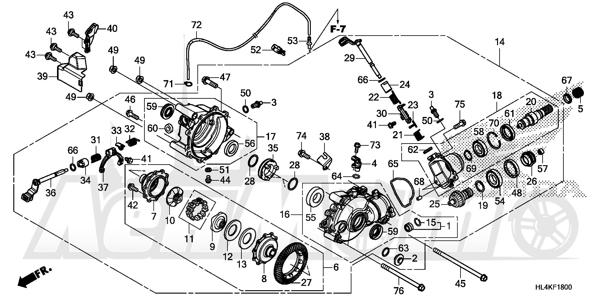 Запчасти для Квадроцикла Honda 2019 SXS1000M3P Раздел: FRONT FINAL GEAR (1) | перед FINAL шестерня (1)