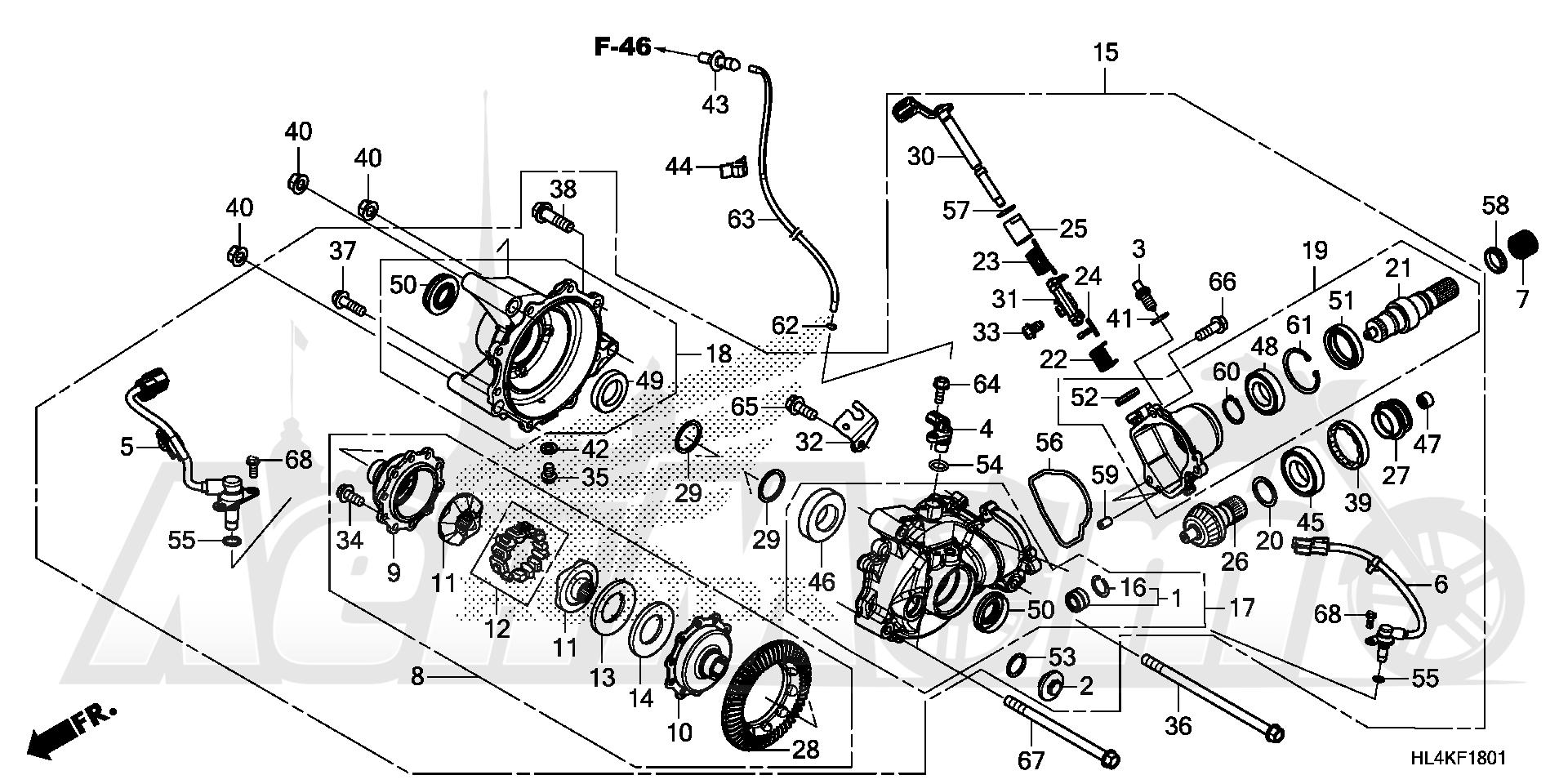Запчасти для Квадроцикла Honda 2019 SXS1000M3P Раздел: FRONT FINAL GEAR (2) | перед FINAL шестерня (2)