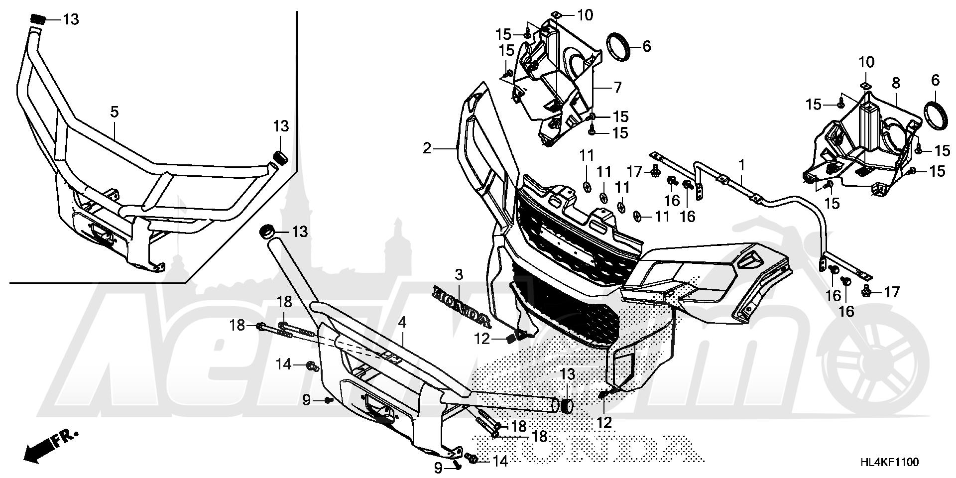 Запчасти для Квадроцикла Honda 2019 SXS1000M3P Раздел: FRONT GRILLE AND FRONT BUMPER | перед GRILLE и перед бампер