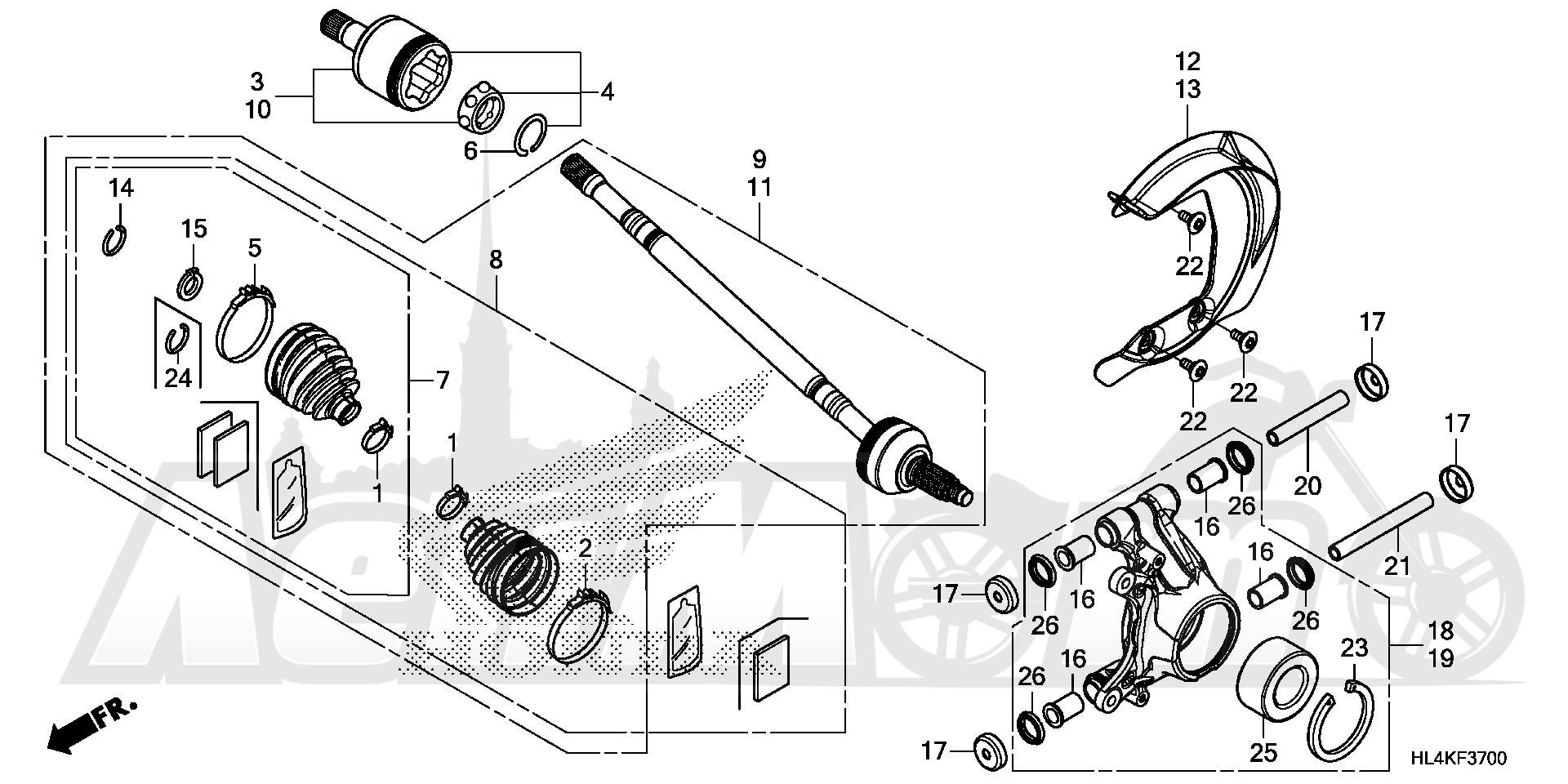 Запчасти для Квадроцикла Honda 2019 SXS1000M3P Раздел: REAR KNUCKLE AND REAR   зад кулак и зад