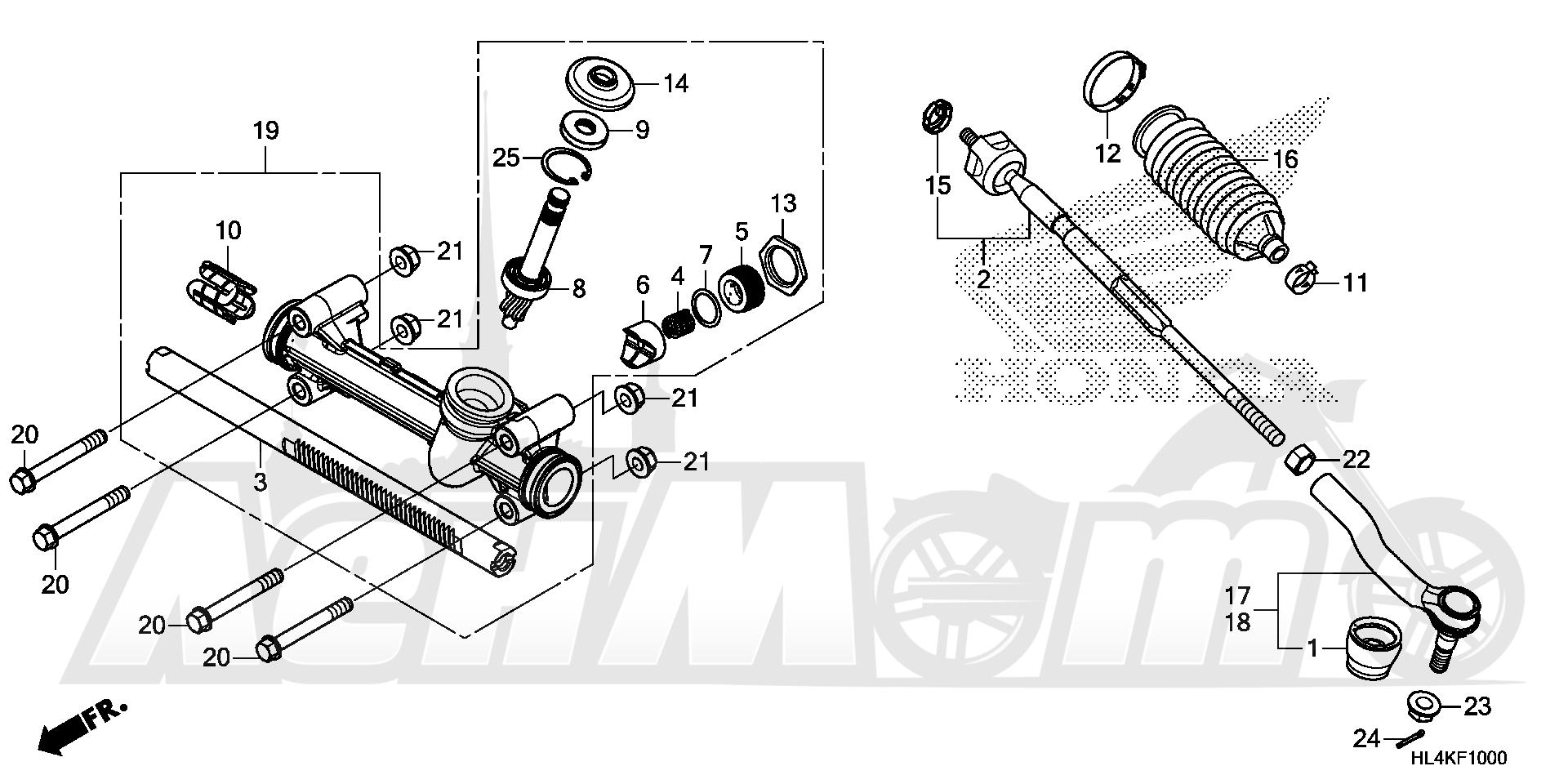 Запчасти для Квадроцикла Honda 2019 SXS1000M3P Раздел: STEERING GEAR BOX AND TIE ROD | рулевое управление коробка передач и рулевая тяга