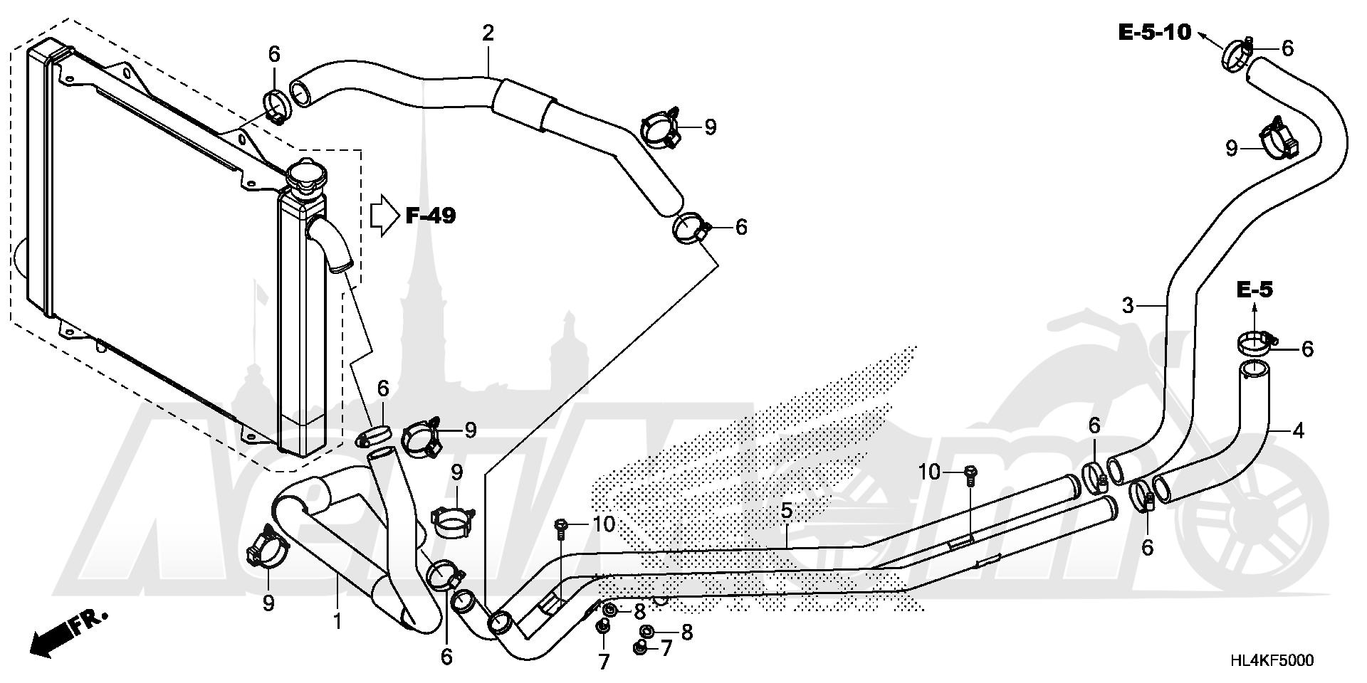Запчасти для Квадроцикла Honda 2019 SXS1000M3P Раздел: WATER PIPE AND WATER HOSE | вода труба и вода шланг