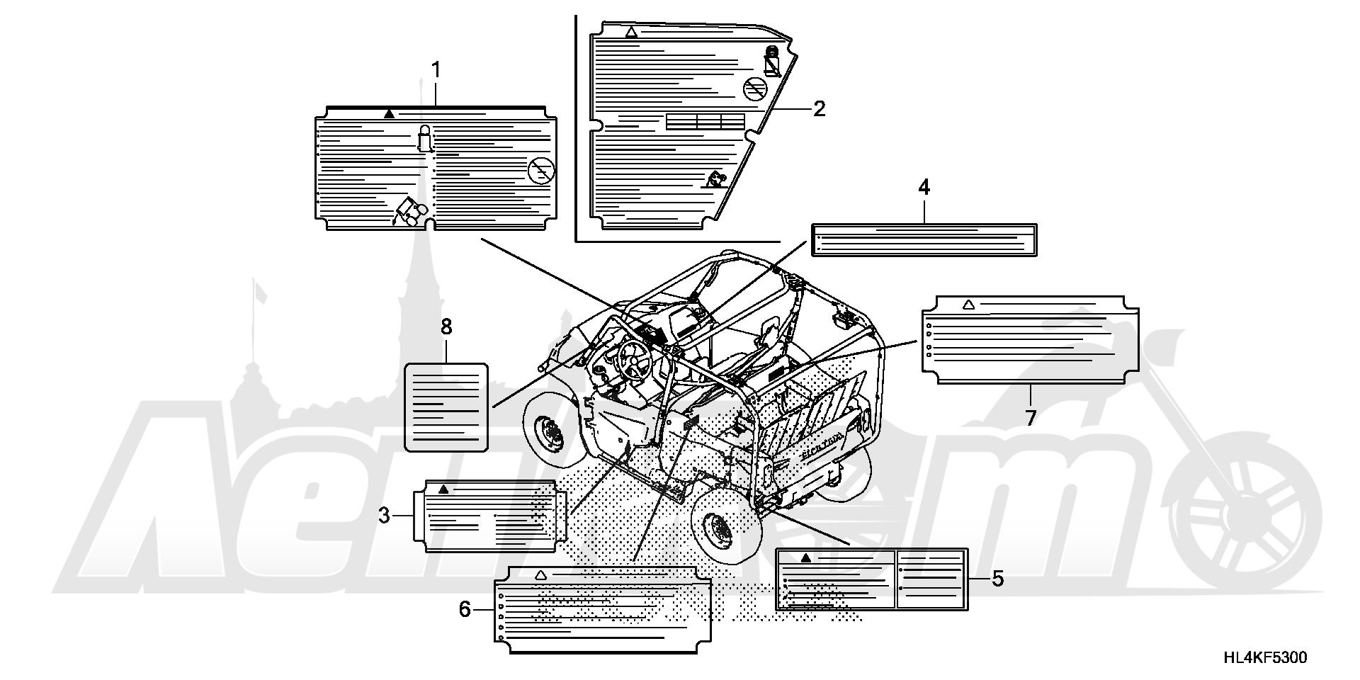 Запчасти для Квадроцикла Honda 2019 SXS1000M5D Раздел: CAUTION LABEL | предупреждение этикетка, метка