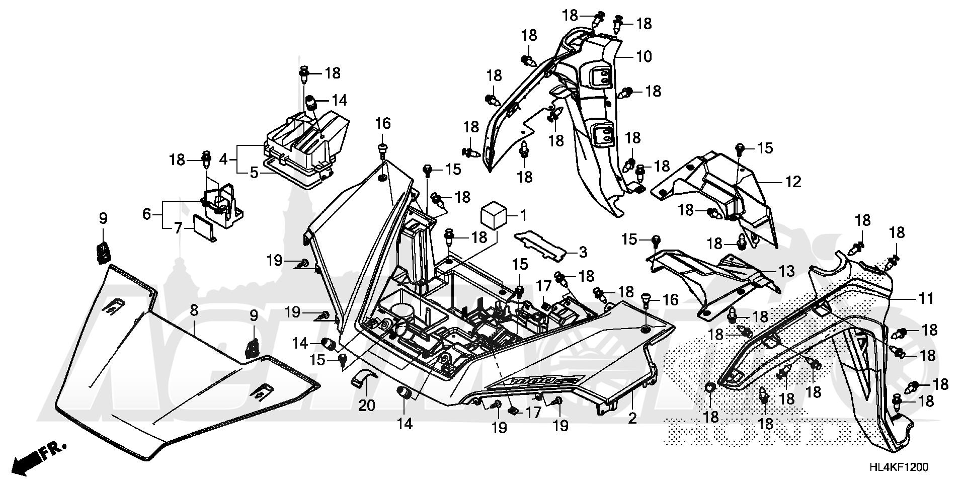 Запчасти для Квадроцикла Honda 2019 SXS1000M5D Раздел: FRONT FENDER AND HOOD   переднее крыло и капот