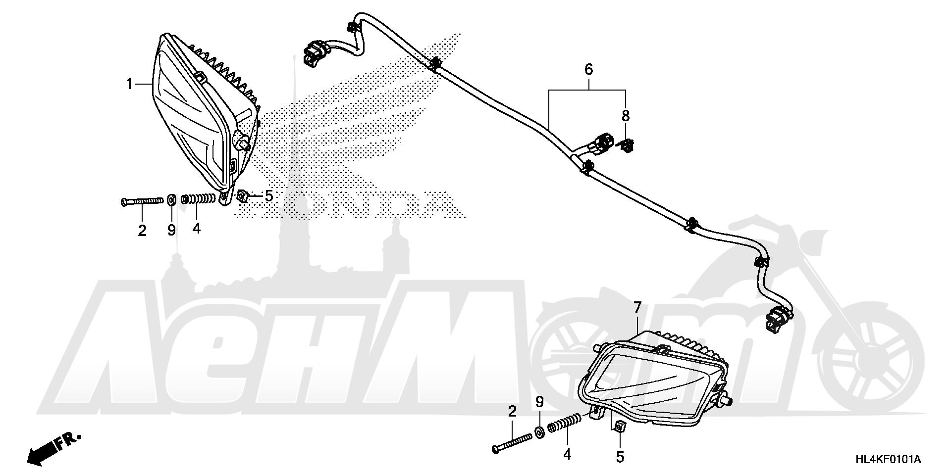 Запчасти для Квадроцикла Honda 2019 SXS1000M5D Раздел: HEADLIGHT (2)   передняя фара (2)