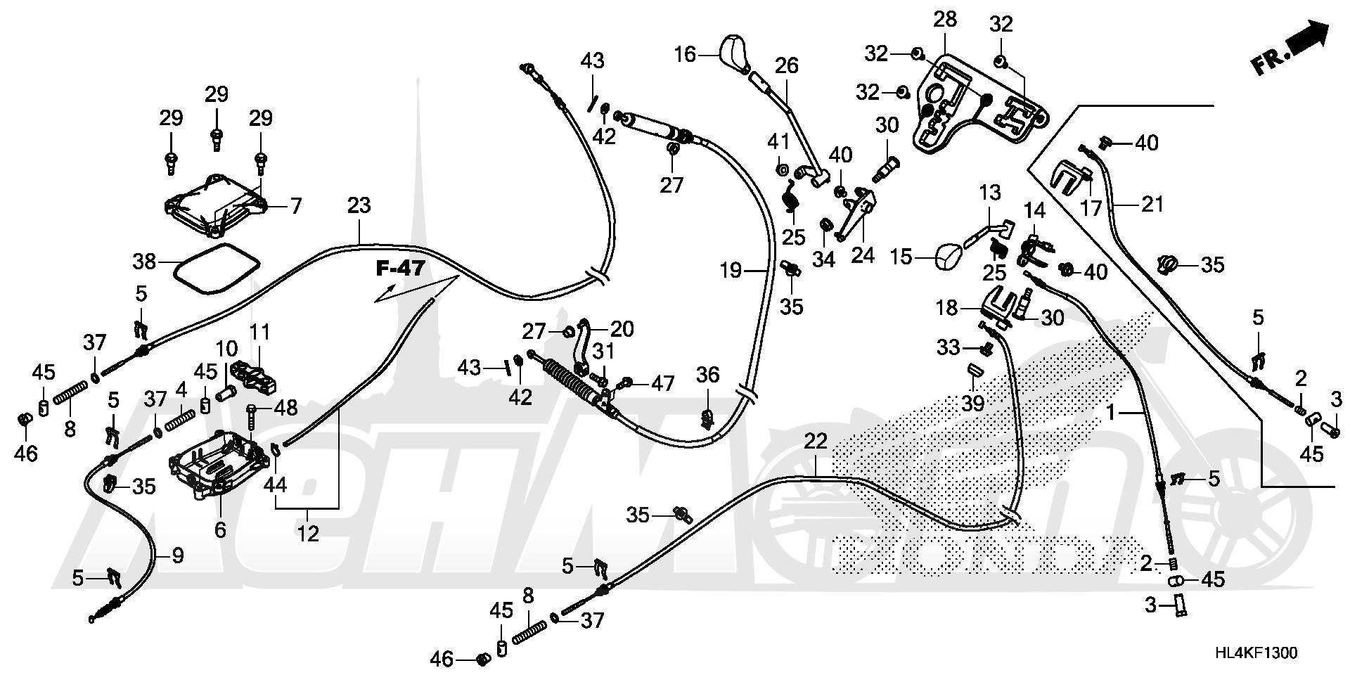 Запчасти для Квадроцикла Honda 2019 SXS1000M5D Раздел: SHIFT LEVER AND SELECT LEVER | лапка переключения и SELECT рычаг