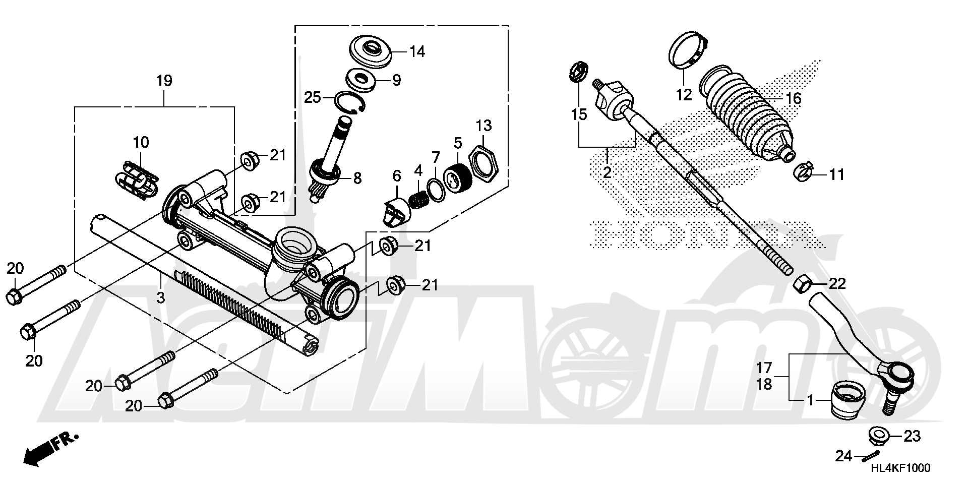 Запчасти для Квадроцикла Honda 2019 SXS1000M5D Раздел: STEERING GEAR BOX AND TIE ROD | рулевое управление коробка передач и рулевая тяга