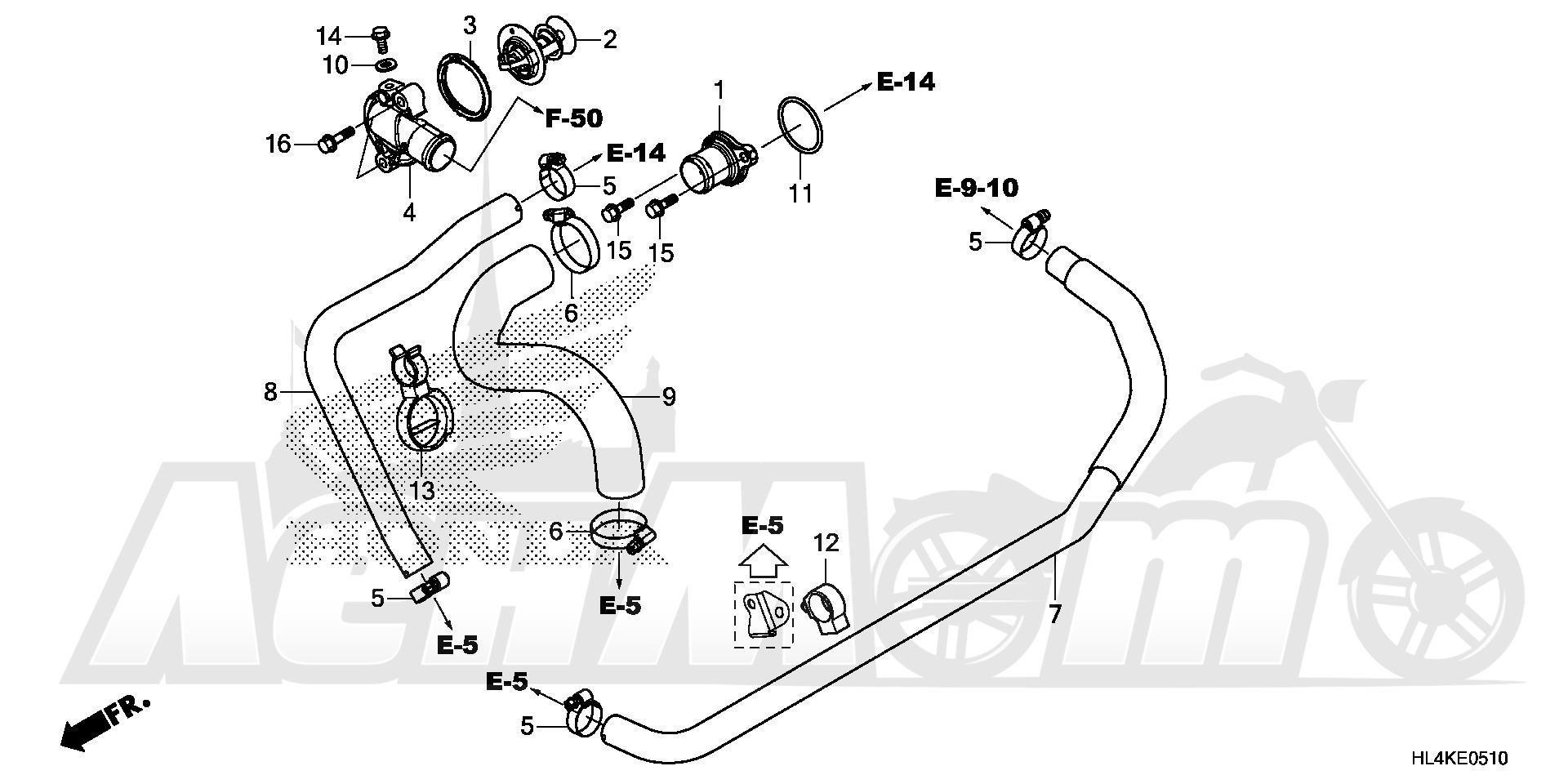 Запчасти для Квадроцикла Honda 2019 SXS1000M5D Раздел: WATER HOSE AND THERMOSTAT | вода шланг и термостат